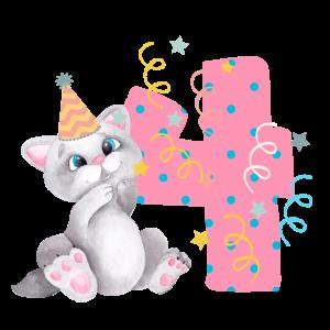 4. Geburtstag Katze Cat Kinder Baby Kindermode 4th