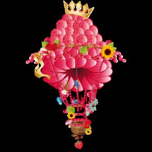 traumhaft zauberhafte Reise mit Himbeeren Ballon