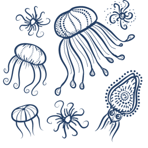 Meerestiere in Marineblau