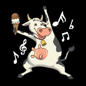 Tanzende Kuh mit Eis und Musiknoten