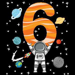 Astronaut Shirt 6. Geburtstag Weltraum 6 Jahre