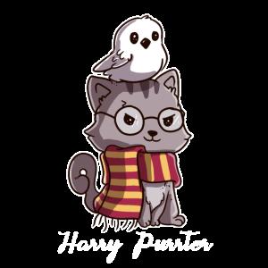 Katzen Harry Purrter Zauberer mit Eule Potter Fans