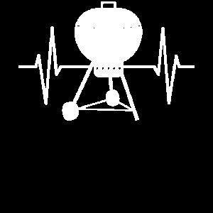 Barbecue Grill EKG Herz Herzschlag Linie Geschenk