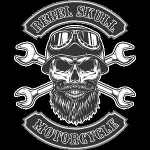 Rebel Totenkopf mit Helm Geschenk Biker Motorrad