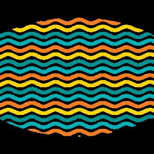 yellow green turquoise orange waves pattern
