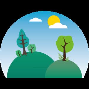 Natur Landschaft mit Bäumen, Hügeln und Wolken