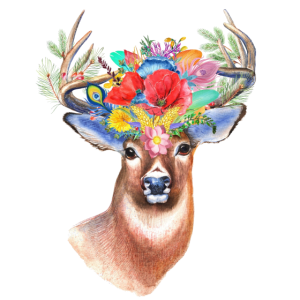 One With Nature Deer Flowers Drawing Gift
