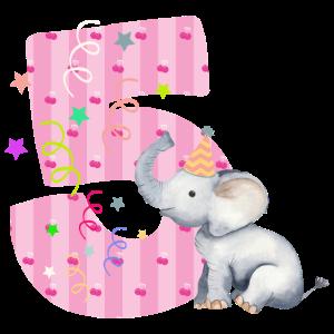 5. Geburtstag Elefant Mädchen Kinder Baby Girl