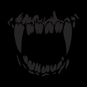 Gesichtsmaske mit coolem Bestie Zähne Biss Design