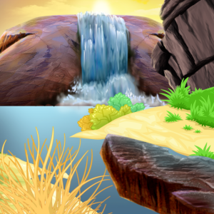 Rocky Falls Szene mit Wasserfall