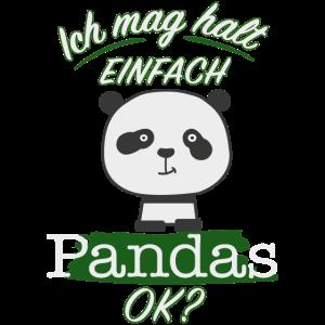 Ich mag Pandas süßes Pandamotiv Geschenk für Kids