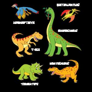 6 Dinosaurier mit Namen