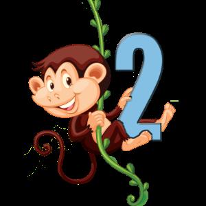 kleines Affenbaby schwingt an Liane: 2. Geburtstag