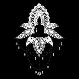 Wunderbarer Lotus mit Buddha, schwarz und weiß