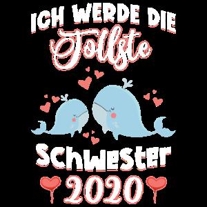 Ich werde große Schwester 2020 Wal Herz Mädchen