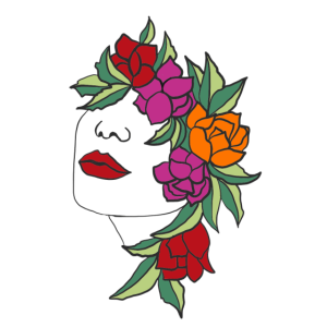 Frau Kopf Blüten Blätter Kunst Art Portrait floral