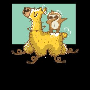 Verrücktes Lama mit einem Dabbing Faultier Design