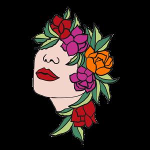 Kopf Frau Blüten Blätter Kunst Art Portrait floral