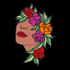 Blüten Frau Kopf Blätter Kunst Art Portrait floral