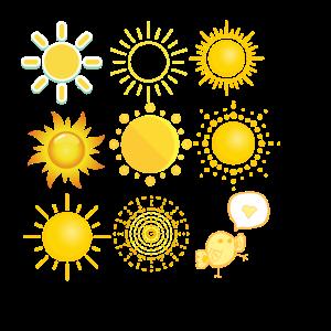 Sonnenvogel mit verschiedenen Sonnen und Küken