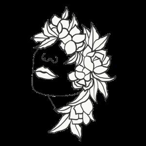 floral Kopf Frau Blüten Blätter Kunst Art Portrait