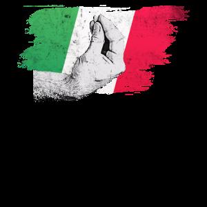 Italienische Flagge mit typisch Handgeste capisci?