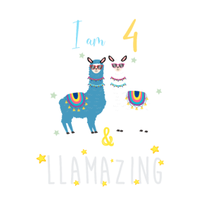 Ich bin 4 und llamazing, Geschenk Lama Liebhaber