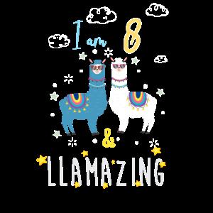 Ich bin 8 und llamazing, Geburtstagsgeschenk für Lama Lover