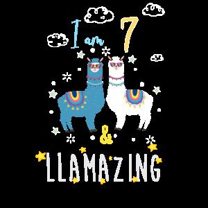 Ich bin 7 und llamazing, Geburtstagsgeschenk für Lama Lover
