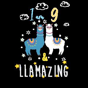 Ich bin 9 und llamazing, Geburtstagsgeschenk für Lama Lover