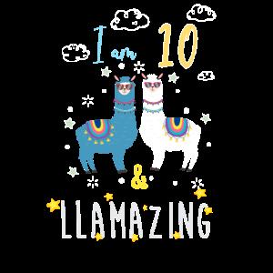 Ich bin 10 und llamazing, Geburtstagsgeschenk für Lama Love