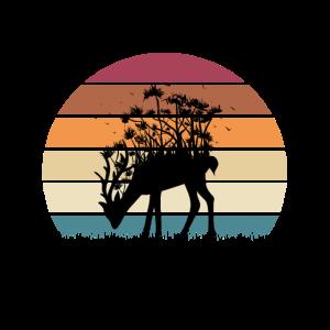 Retro Sonne mit Hirsch Natur Umwelt Wald Bäume