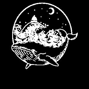 Wal Delfin im Meer Ozean bei Nacht und Mondschein