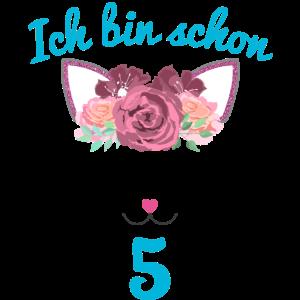 5 Jahre Geburtstag Geschenk Katze Blumen Mädchen