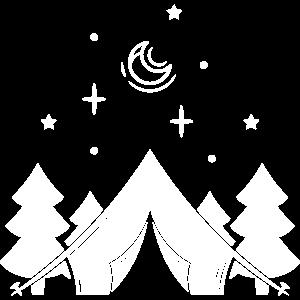 Zelt Camping Camper - Berg Sterne Mond