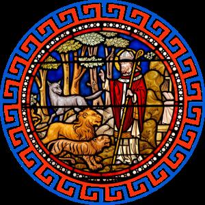 kirchenfenster heiliger mit tieren