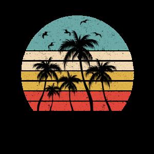 80er Jahre Sonnenuntergang Palmen