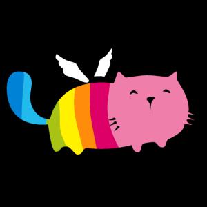 Engel Katze Pummel Regenbogen Angel Cat Rainbow