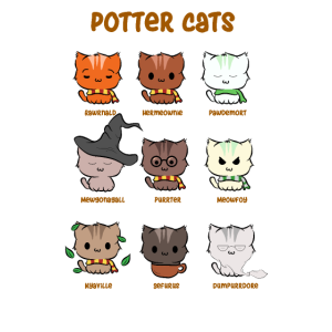 Funny Potter Cats Cute Hairy Pawter Kitten T-Shirt