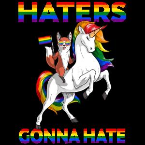 LGBT Homosexuell Stolz Rotfuchs Reiten Einhorn Hasser