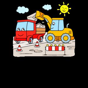 Bagger und Kipplaster auf der Baustelle für Kinder