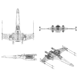 X-Wing Fighter 3D view black wireframe