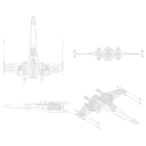 X-Wing Fighter 3D view white wireframe