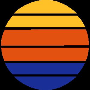 Retro Sonne als Vintage Kreisform