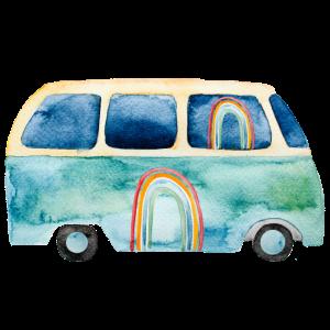 Regenbogen Retro Vintage Van Bus