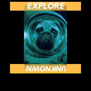 """""""Erkunde Unbekannt"""" Space Dog Photo Graphic Design"""