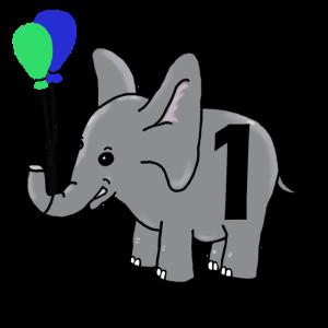 Erster Geburtstag - Elefant - 1 Jahr