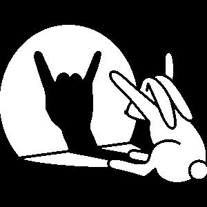 Kaninchen Schatten Hand ROCK Musik HARD ROCK Fan
