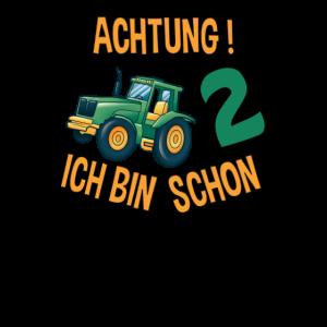 2 Geburtstag Kinder Traktor Achtung ich bin 2