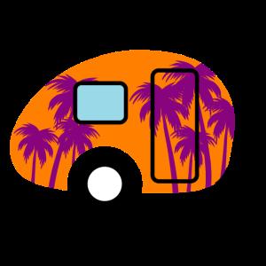 Caravan Palmen Wohnwagen Campingplatz Camper bunt